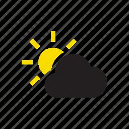 cloud, clouds, rain, sun, sunny, temperature, weather icon