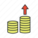 accrue, budget, coins, costs, earnings, expenses, growth, income, increase, invest, money, profit, rise, sales, sales up, up icon