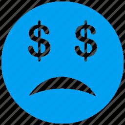 bad debt, bankrupt, budget, crash, problem, sad, warning icon