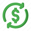business, dollar, finance, money, refund icon