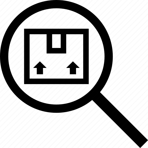 find, magnifier, package, search, seek, tracking icon