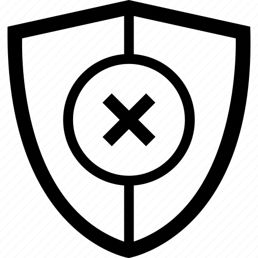 antivirus, security, shield, unprotected, unsecure, vulnerable icon