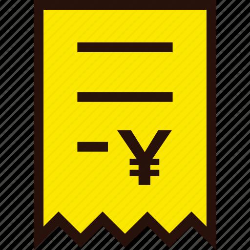 bill, document, ecommerce, invoice, online, voucher, yen icon