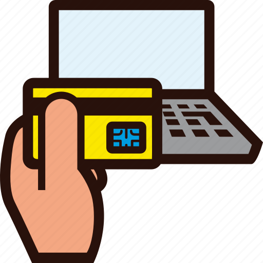 buying, card, credit, hand, laptop, online, plastic icon