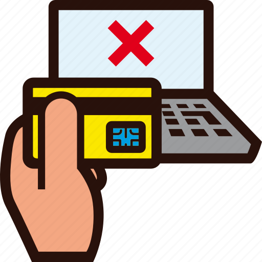 buying, credit card, denied, error, hand, laptop, rejected icon