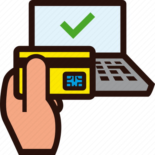 buying, credit card, hand, laptop, ok, success, tick icon