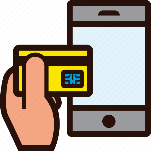 buying, credit card, hand, mobile, online, smartphone icon