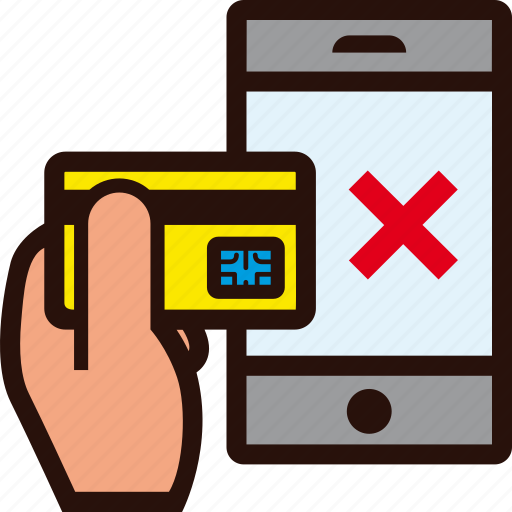buying, credit card, error, hand, mobile, online, rejected icon