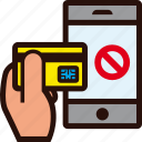 buying, credit card, forbidden, hand, mobile, online, rejected