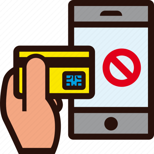 buying, credit card, forbidden, hand, mobile, online, rejected icon