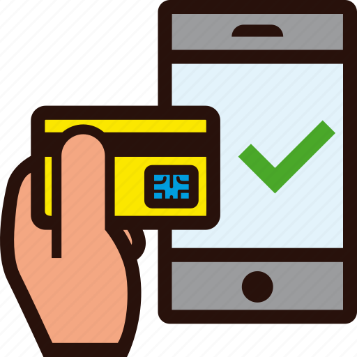 buying, credit card, hand, mobile, ok, success, tick icon