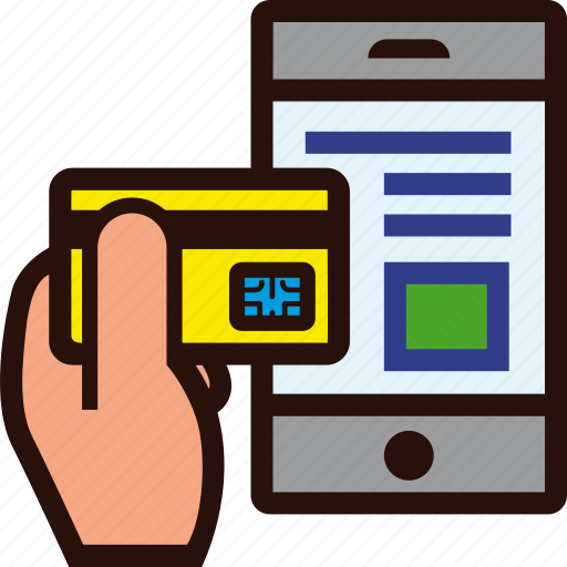 credit card, hand, mobile, online, shopping, smartphone icon