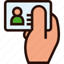 card, hand, id, identification icon