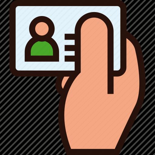 card, hand, id, identification icon