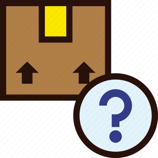 box, delivery, lost, package, question, unavailable, unknown icon