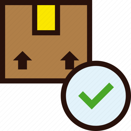 box, delivered, delivery, ok, package, tick icon