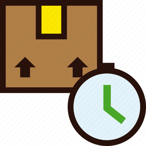 box, clock, delivery, package, schedule, time icon