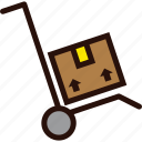 box, delivery, hand, package, parcel, stack, trolley icon