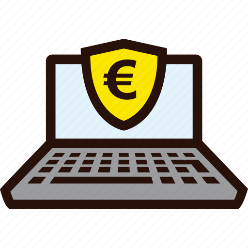 euro, laptop, online, payment, secure icon