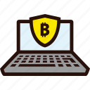 bitcoin, laptop, online, payment, secure icon