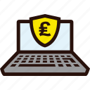 laptop, online, payment, pound, secure icon