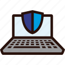 laptop, online, payment, secure, shield icon