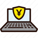 laptop, payment, secureonline, yen icon