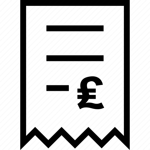 bill, document, ecommerce, invoice, online, pound, voucher icon
