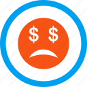 bankrupt smiley, bankruptcy, character, depression, emoticon, finance, problem icon