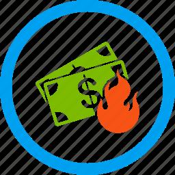 bankrupt, bankruptcy, burn banknotes, danger, fire accident, flame, insurance icon