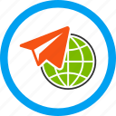 distance, flight, freelance, internet, job, telegram, work icon