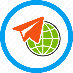 distance, flight, freelance, internet, job, telegram, work icon