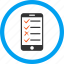 check list, checklist, mobile, phone, plan, tasks, test icon