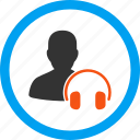 administrator, call center, emergency manager, headphones, help desk, online support, operator icon