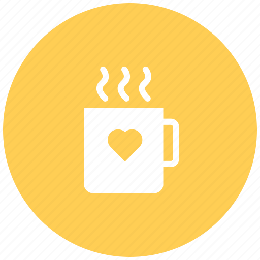 coffee, drink, hot tea, love coffee cup, valentine coffee icon