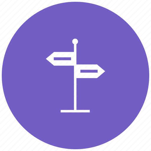 arrow, direction, navigation board, path guide post, road, way icon