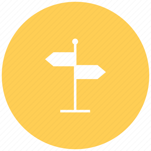 arrow, direction, direction board, path guide post, road, way icon