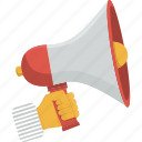 communication, hand, megaphone, speak, speaker, speech, talk icon