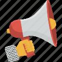 communication, hand, megaphone, speak, speaker, speech, talk