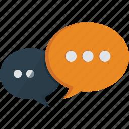 bubbles, chat, communication, discussion, instant messaging, messages, social, speech, speech bubbles, talk, tchat icon