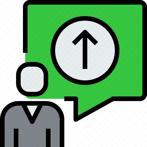 arrow, chat, communication, dialog, message, people, up icon