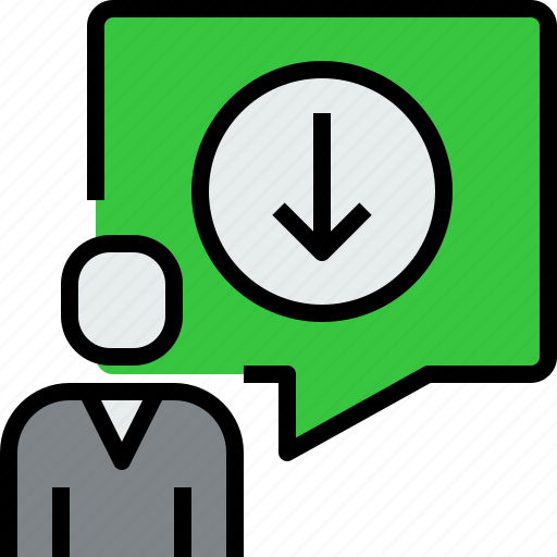 arrow, chat, communication, dialog, down, message, people icon