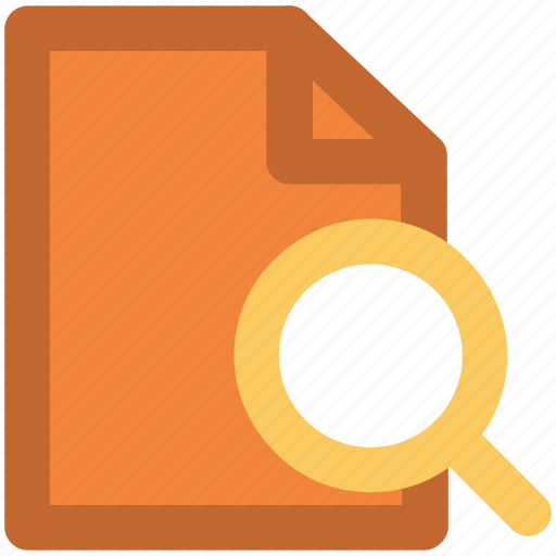 Magnifier, online searching, paper searching, searching documents, text, text searching icon - Download on Iconfinder