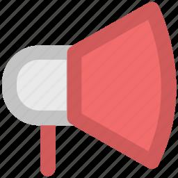 bullhorn, hailer, loud hailer, loudspeaker, megaphone, speaker, speaking trumpet icon
