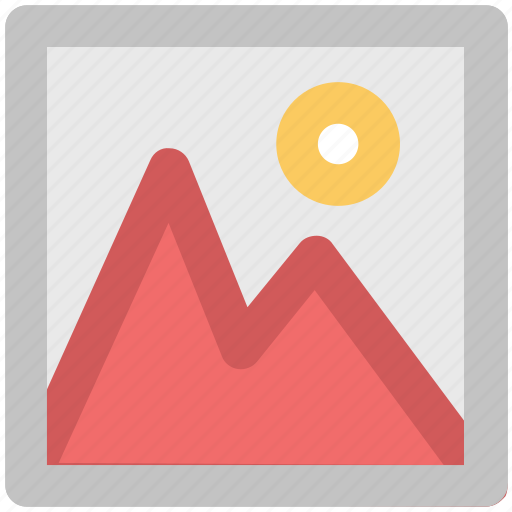 image, landscape, mountain, photo, picture, scenery, sun icon