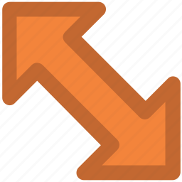 arrow, arrow pointer, diagonal arrow, double -headed, guide, hint, indicator icon