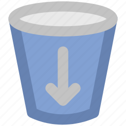 alert, down arrow, glass, guide, hint, information, sign icon