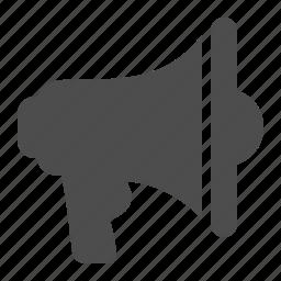 bullhorn, communication, loudspeaker, megaphone, speaker icon