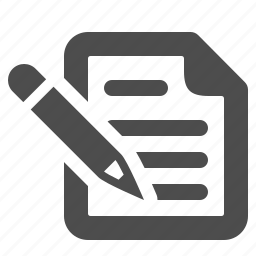 document, page, paper, pencil, text, writing icon