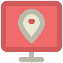 gps, location marker, map pin, monitor, navigation, online navigation, topography icon